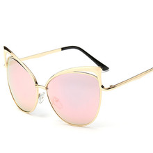 Oculos Oversized Cat Eye Sunglasses Pink Women 2018 Fashion Sexy Female Shades Retro Big Hollow Metal Mirror Sun Glasses UV400