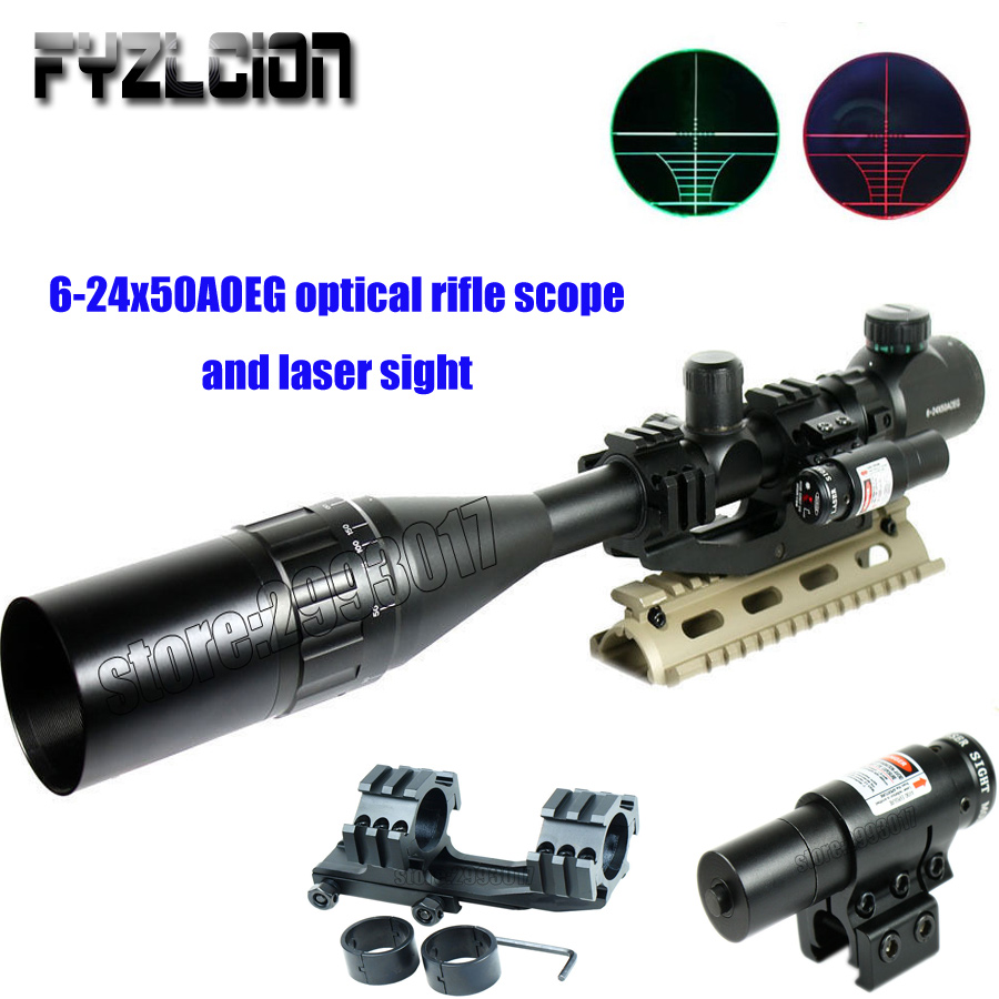 Fyzlcion 6-24X50 Hunting Tactical Optics Riflescopes Red Dot Laser Sight Airsoft Air Gun Reflex Sniper Pistol Holographic Sight портмоне d angeny портмоне