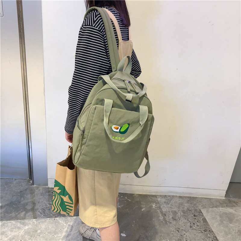 Image 4 - Menghuo New Fruit embroidery Women Backpack Little Fresh Waterproof Nylon Solid Color Shoulder Bag Girls Schoolbag for Teenagers-in Backpacks from Luggage & Bags