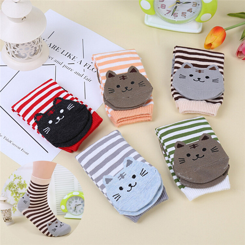 3D Animals Style Striped Cartoon Socks Women Cat Footprints Warm Cotton Socks Lady Floor ...