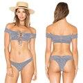 2017 New Sexy Off Shoulder Bikinis Set Cut Out Swimsuit Women Swimwear Bandage Micro Bikini Thong Biquini Trikini Maillot Femme