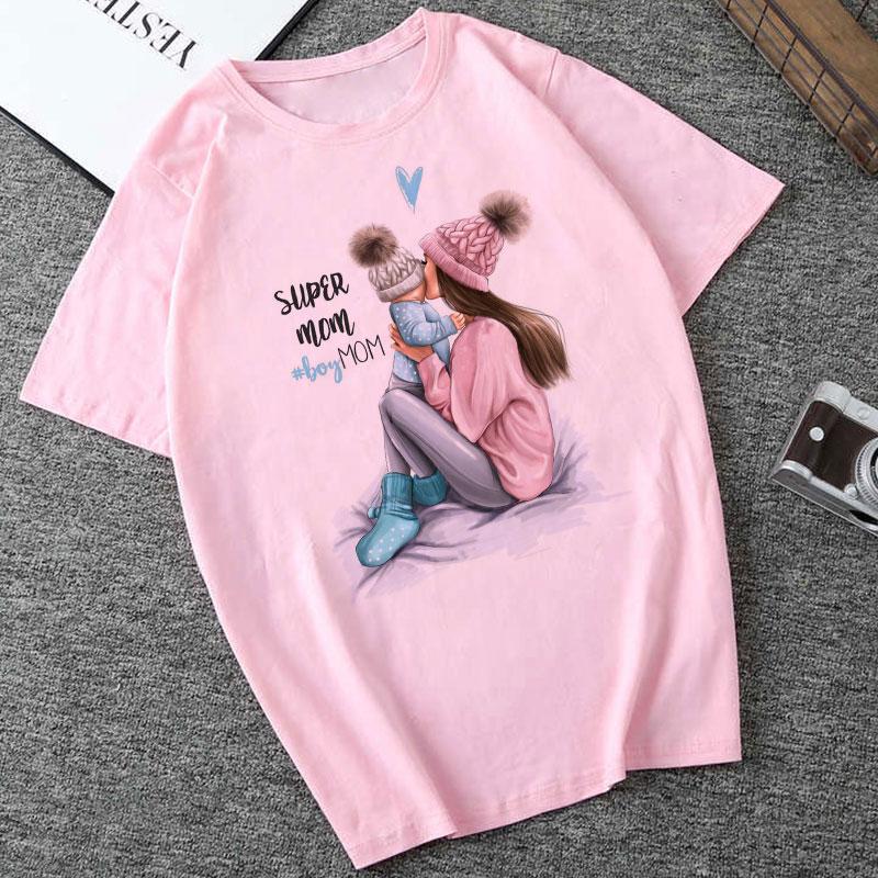 CZCCWD Summer 2019 Mother's Day T Shirt Women Harajuku Kawaii Super Mom Tshirt Leisure Comfortable Vogue Aesthetic Lovely Tshirt(China)