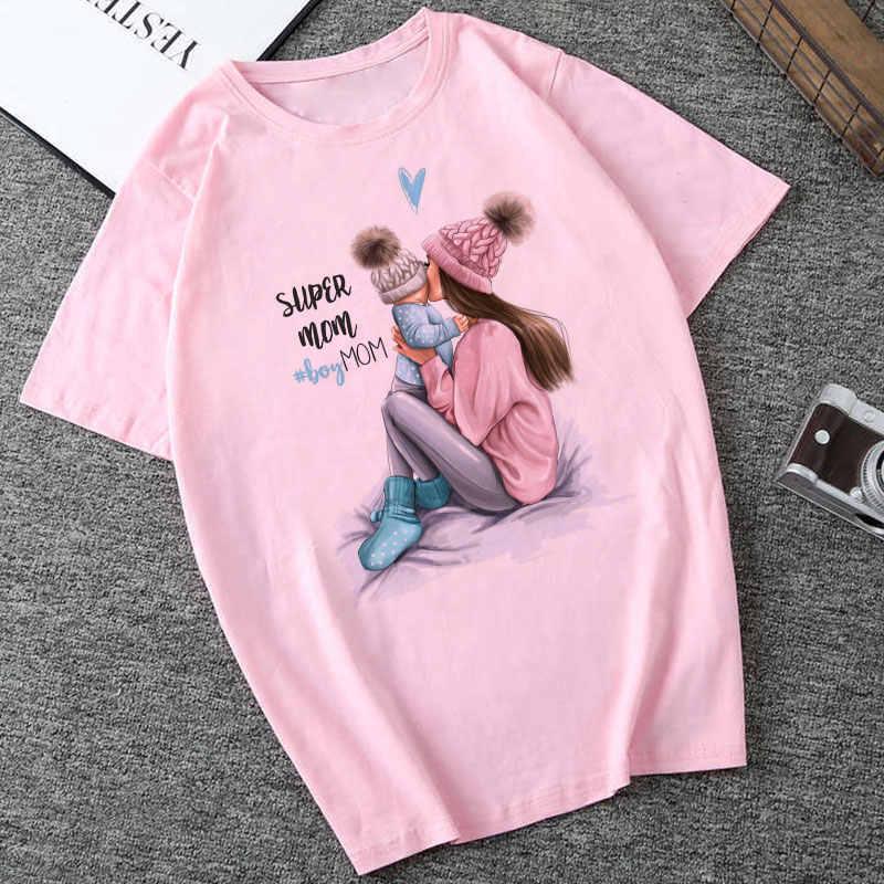 CZCCWD 夏 2019 母の日 Tシャツ女性原宿かわいいスーパーママ Tシャツレジャー快適な流行美的素敵な Tシャツ