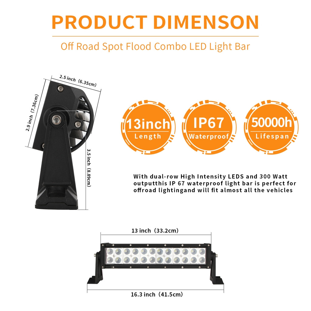 Image 5 - 13inch 120W 2525 Dual Row Straight LED Work Light Bar Off Road Driving Truck SUV LED Lamps For Cars Luces Led Para Auto-in Light Bar/Work Light from Automobiles & Motorcycles