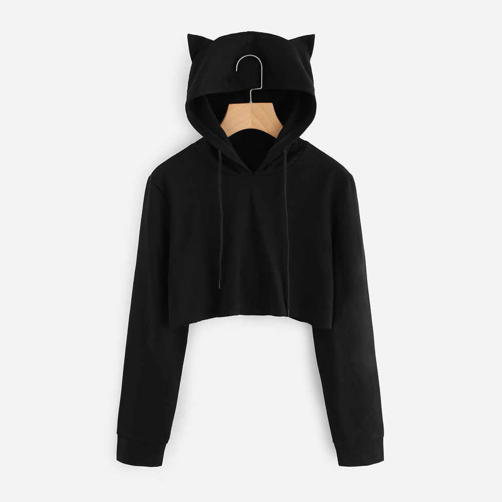 Kawaii Cat Ear Anime Hoodie Pullovers Women Autumn Long Sleeve Black Short Sweatshirt Ladies Hoodies women Casual Tops