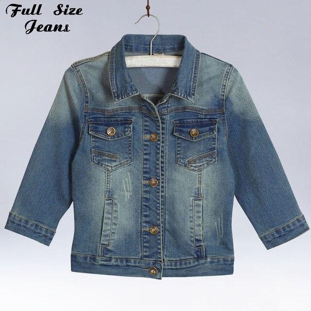Women Plus Size Cropped 3/4 Sleeve Jean Jacket Vintage Blue Bomber Denim  Jackets Jaqueta