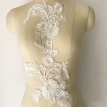 1 Piece Bridal Gown Ivory DIY Lace Applique Embroidery Patches Trim Collar Wedding Bodice Veil Accessories
