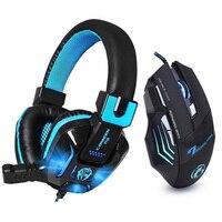 Estéreo de alta fidelidade Baixo Gaming Jogo Headset Fone De Ouvido Com Cancelamento de Ruído com Mic DIODO EMISSOR de Luz + 7 Botões 5500 DPI Pro Gaming rato Do Presente
