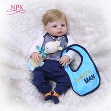 NPK Full Silicone Body Reborn Baby Doll Toy LifeLike Real 57CM Newborn Girl Prin