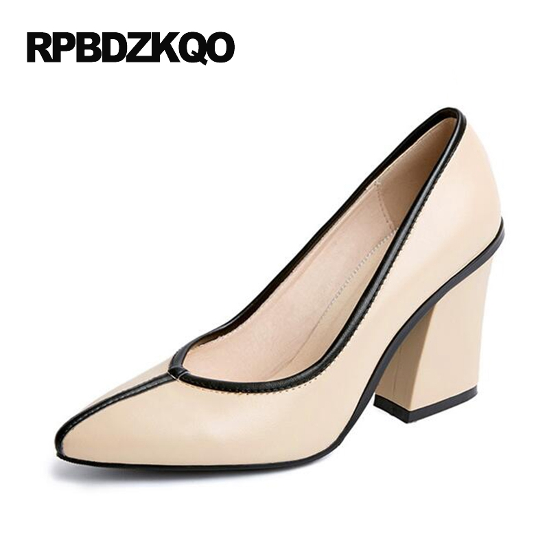 Women High Heels Pumps Office Nude Shoes Thick Pointed Toe Luxury 2017 Size 4 34 White Formal Genuine Leather Autumn Spring New new genuine leather superstar solid thick heel zipper gladiator women pumps pointed toe office lady nude runway casual shoes l88