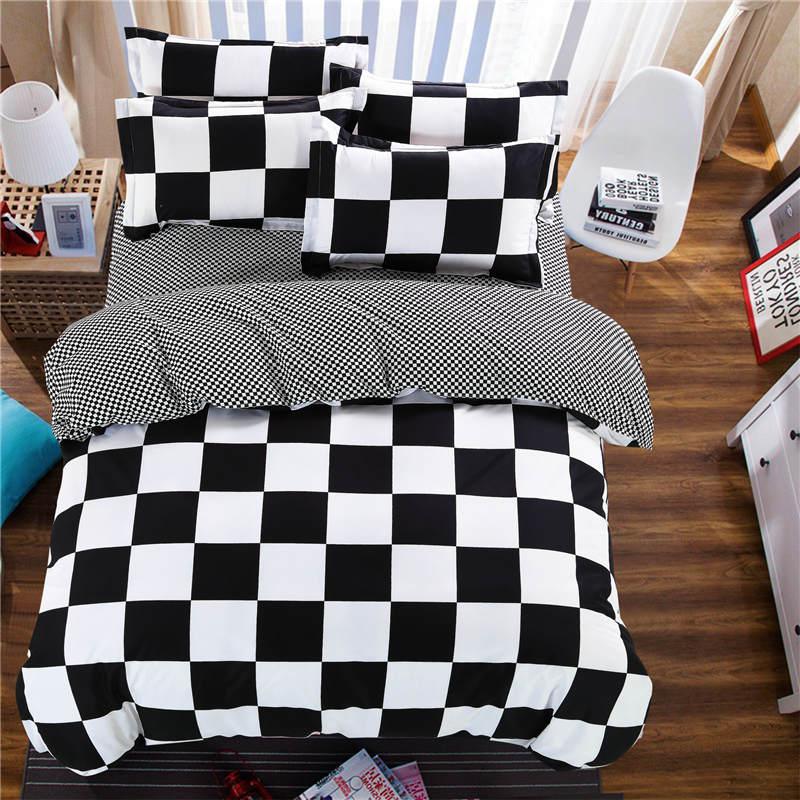 hot geometry plaid bedding sets duvet cover sheets 4pc boys bedroom decor bedclothes woven 29