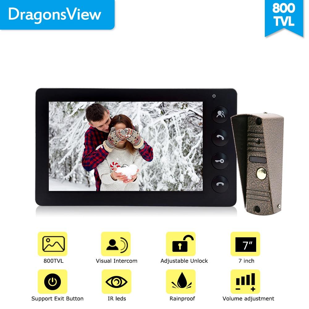 Dragonsview 7 pulgadas Video de la puerta del sistema de intercomunicación teléfono Blanco/negro de Video de la puerta de entrada Panel intercomunicadores para casa privada llamada panel - 5