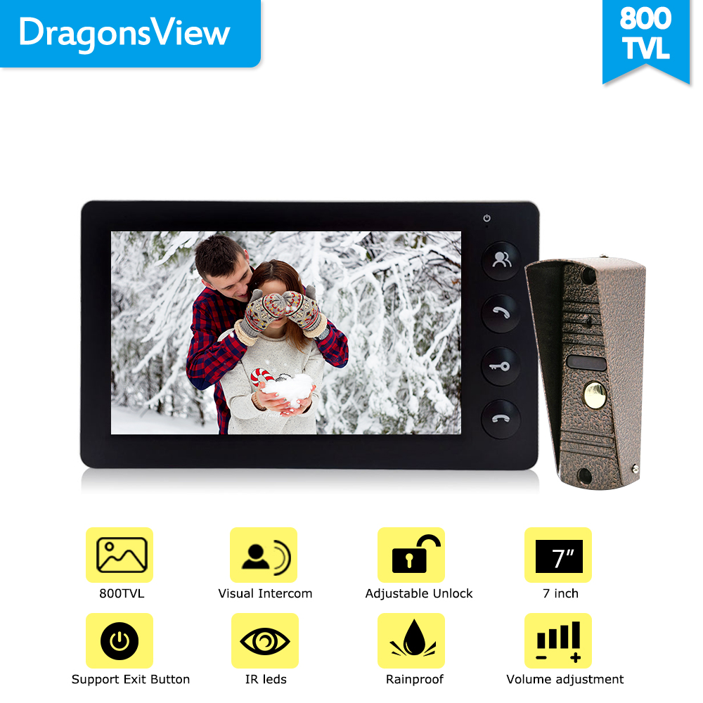 Système d'interphone vidéo de porte de 7 pouces dragon sview Intercoms de panneau d'entrée de porte vidéo blanc/noir pour panneau d'appel privé à domicile - 5