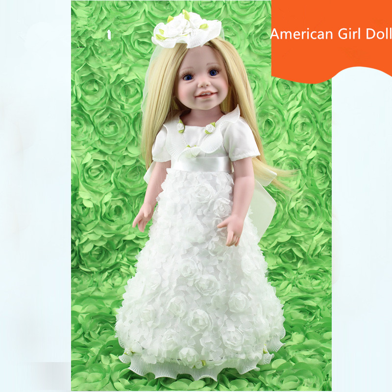 18 inch 45cm Full Vinyl American Girl Dolls Play House Toys Lifelike Toys for Kids Gift Accompany Sleep Doll Juguetes Brinquedos lifelike american 18 inches girl doll prices toy for children vinyl princess doll toys girl newest design