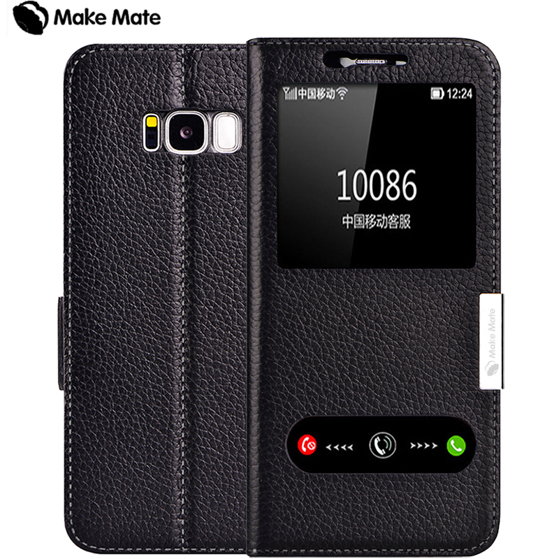 imágenes para Para samsung caso s8, lujo vista ventana genuino cubierta de cuero del caso del soporte para Samsung Galaxy S8