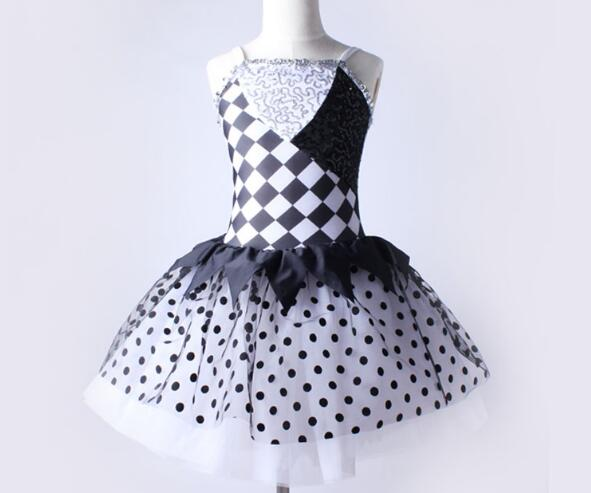 black white patchwork adult kids Ballet Dance Tutu Ballerina Girls Ballet Dancing Dress team performance ballet