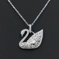 High Quality Solid 925 Sterling Silver Cubic Zirconia Crystal Swan Pendant Necklace For Women Christmas Gift