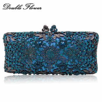Double Flower Hollot Out Light Blue Turquoise Women Crystal Evening Clutch Bags Metal Hard Case Diamond Minaudiere Handbag Purse - DISCOUNT ITEM  30% OFF All Category