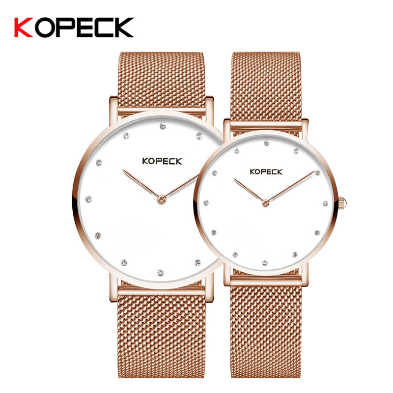 Kopeck Lovers Quartz Watches Women Men Milan Mesh Strap WristWatches Top Brand Luxury Female Male Clock Steel Thin Dial Watch