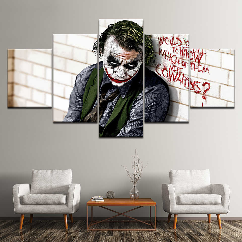 Canvas Painting Batman Joker Dark Knight 5 Pieces Wall Art Painting Modular Wallpapers Poster Print for living room Home Decor