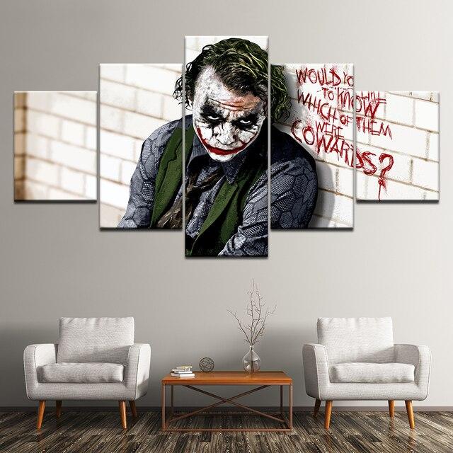 Tranh in canvas Sơn Batman Joker Hiệp Sĩ Bóng Đêm 5 Miếng Dán Tường Nghệ Thuật Tranh Mô Đun Tường POSTER In cho phòng khách Trang Trí Nhà