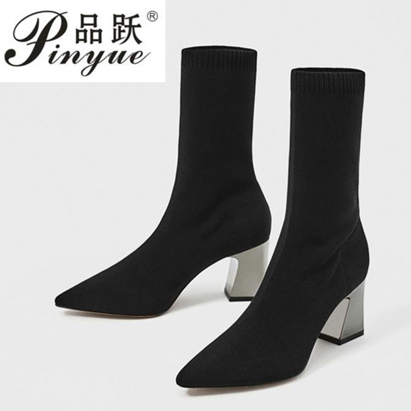 Fashion Knit elastic boots Elastic Sock Boots Chunky High Heels Stretch Women Sexy Booties Pointed Toe Women Pumps BotasFashion Knit elastic boots Elastic Sock Boots Chunky High Heels Stretch Women Sexy Booties Pointed Toe Women Pumps Botas