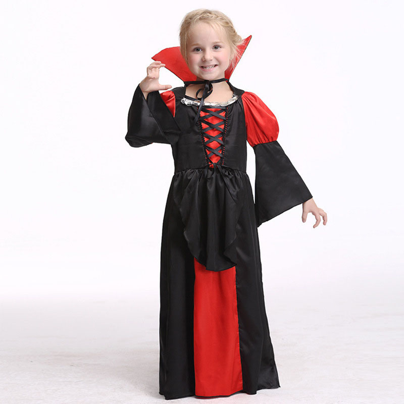 Girls Cosplay Dresses Halloween Vampire Clothing For Toddler Girl Baby Party Dress Children Costumes Kids Clothes  newborn baby halloween vampire cosplay jumsuit toddler boys girls funny cute clothes set kids photography props birthday gift