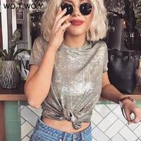 WOTWOY Silver Shiny Lurex Knitted T Shirts Women 2019 Summer Sexy Slim O-Neck Short Sleeve T shirt Woman Solid Tees Harajuku T-Shirts