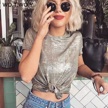 WOTWOY Silver Shiny Lurex Knitted T Shirts Women 2019 Summer Sexy Slim O-Neck Short Sleeve T shirt W