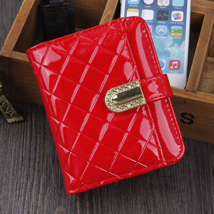 Hot sale plaid pattern Brand PU Bright Leather 4 pure colors female Soft purse wallet card holders wallets women free shipping