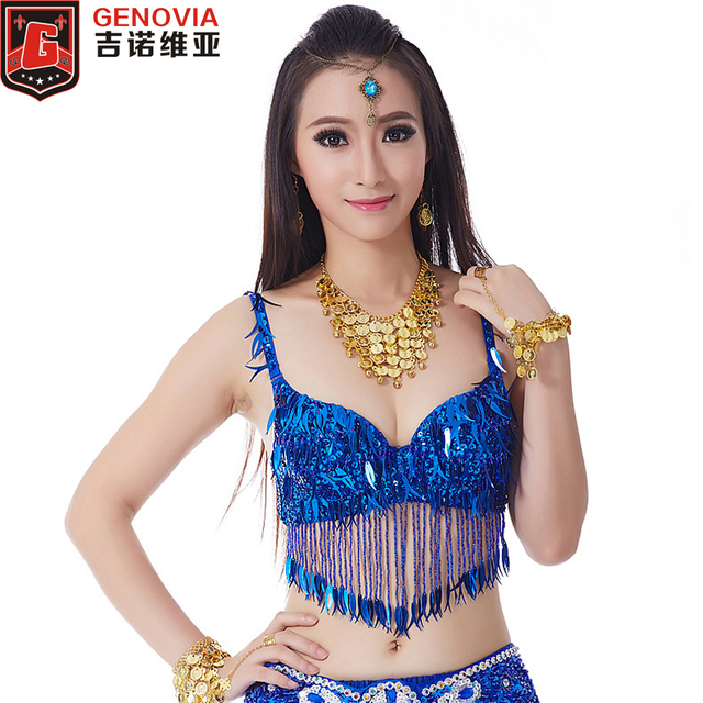 6424f5a623 Women Sexy Belly Dance Sequin Top Bra Pepper Floral Performance Costume  Belly Dance Bra   Top Night Club Wear 34 75 C Cup