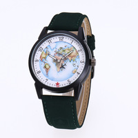 2018 High Quality World Map Flight Airplane Watch Travel World Denim Strap Quartz Watches Women Dress