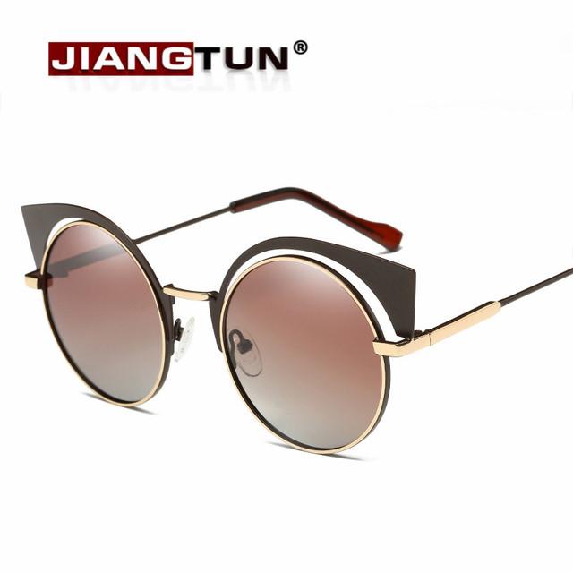 Jiangtun cat eye óculos de sol polarizados mulheres pontos de grandes dimensões do vintage óculos oculos faminino marca de luxo designer de óculos de sol