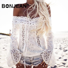 цена на Off Shoulder Top Women White Lace Shirt Long Sleeve Blouse Plus Size Tunic Boho Chic Bohemian Top Ladies Summer Z036