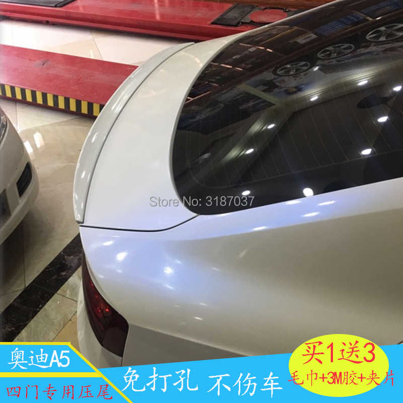 For Audi A5 2009-2016 ABS Plastic Unpainted Color Rear Roof Spoiler Wing Trunk Lip Boot Cover Car Styling