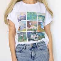 HahayuleWomen Vintage Monet Malerei T-Shirt Weiche Grunge Ästhetischen Gedruckt T Kühle Sommer Tops