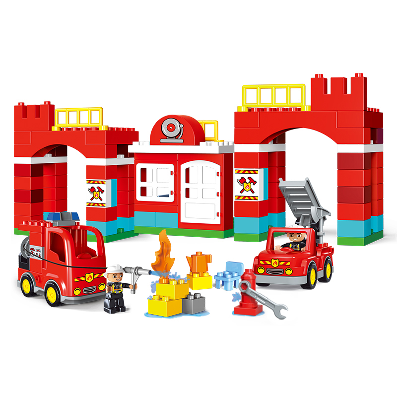 City Fire Department Firemen Pink villa Girls Big Building Blocks Compatible With Legoing Duplo Bricks Kids Toys Christmas gorock 109pcs big blocks city fire department firemen building blocks set kids diy bricks creative toys compatible with duploe