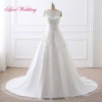 2017 White Memrmaid Wedding Dresses Detachable Train Lace Appliqued Scoop Neckline Bridal Gown Two Pieces With Removable dress