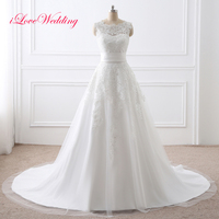 In Stock White Ivory Wedding Dresses Detachable Train Sleeveless Mermaid Chiffon With Applique Scoop Neck Bridal
