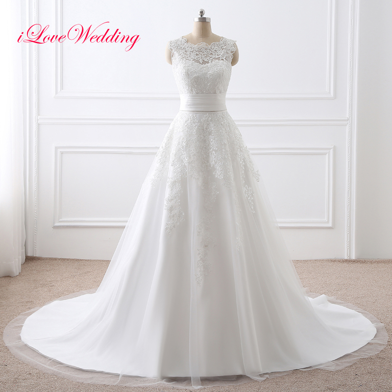 2019 Two Pieces Wedding Dress Lace Appliqued Scoop Neckline Short Bridal Gown With Removable Train Sleeveless Vestido De Noiva
