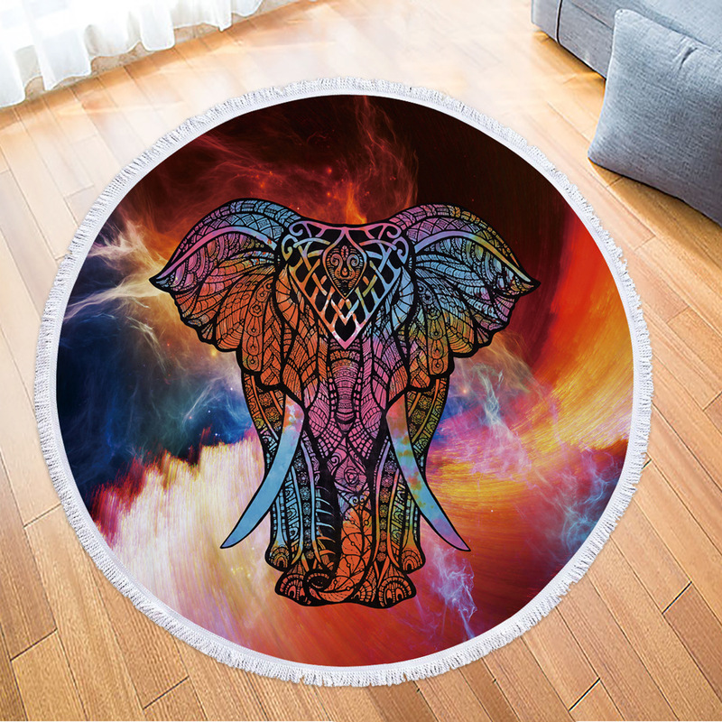 Elephant Round Beach Towel Fashion Beach Towel with Tassels Microfiber Picnic Blanket Mat TapestryElephant Round Beach Towel Fashion Beach Towel with Tassels Microfiber Picnic Blanket Mat Tapestry