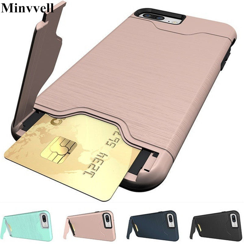 Case For iPhone XS MAX XR 8 X 10 7 PLUS Brushed Hybrid Wallet Card Holder Kickstand Cover For iPhone 6 6S Dual Layer Protection Зарядное устройство