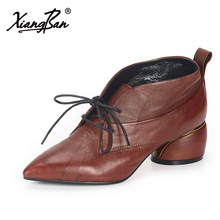 цена Xiangban fashion pointed toe genuine leather women ankle boots thick high heeled shoes lace up 50128 онлайн в 2017 году
