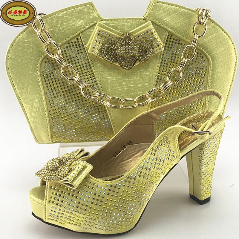 ME7710 Hot Sale Rhinestone African High Heel Sandals Shoes Matching Bag Latest European Ladies Shoes And Bags Sets Online наклейки cn hot me