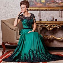 2016 New Arrival Charming Emerald Green Satin Black Lace Applique Half Sleeves A Line Formal Mother Of Bride Dresses For Party