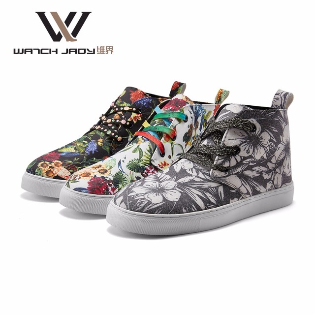 1de8019475 W.J Canvas Shoes Non-Leather Casual Graffiti Floral Print Fabric Flat  Breathable Rubber Mens Fashion Shoes Man Sneakers