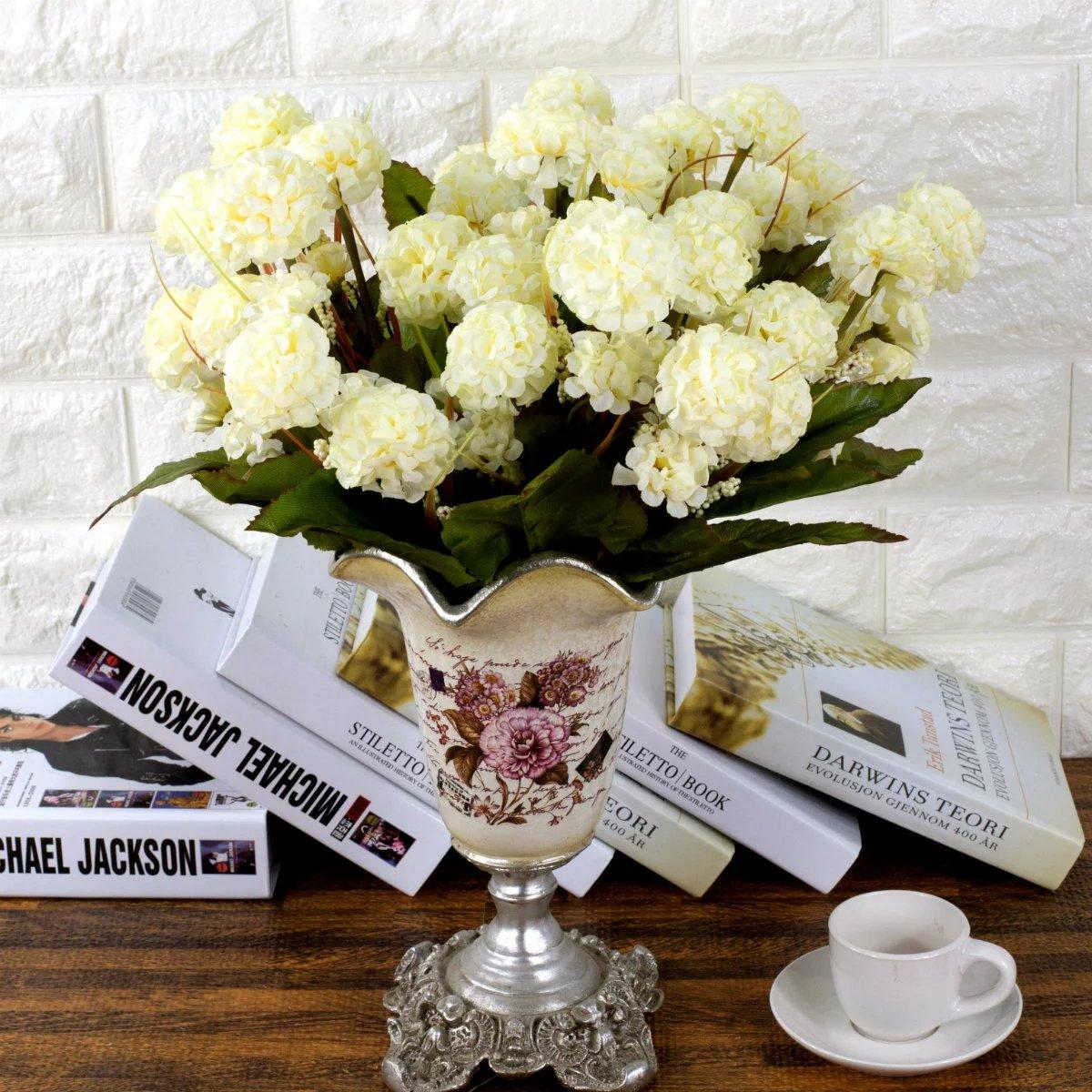 9 Heads Artificial Hydrangea Bouquet Party Home Wedding Fake Bridal Silk Flow