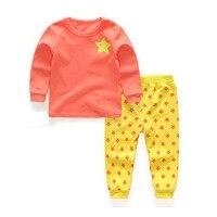 Yıldız Uzun kollu bebek kız Giyim pamuk bebeğin Setleri Turuncu ve Kırmızı