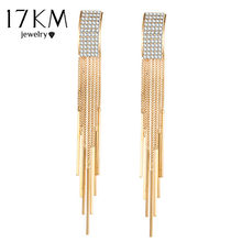 17KM Gold Color Crystal Tassel Earrings for Women Bar Long Dangle Drop Earing 2018 Fashion Female Wedding Jewelry Gift Wholesale(China)
