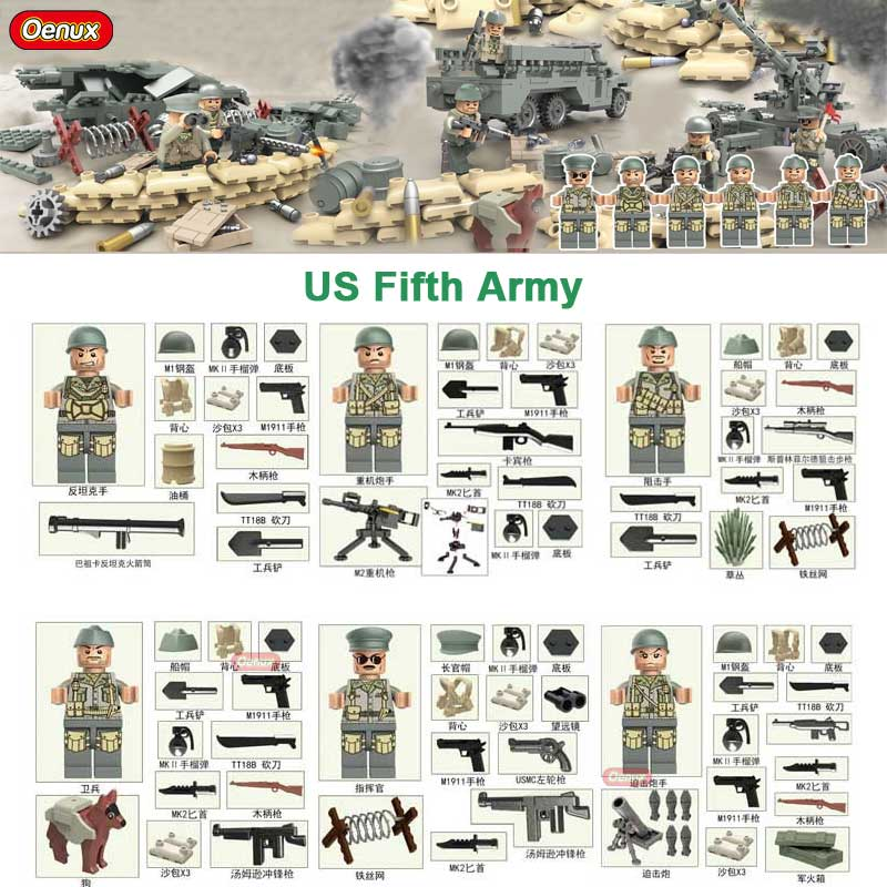 Oenux New WW2 1943 Tunisia Campaign War Military US Fifth Army Figures Building Block Military Weapons Model Brick Toy For Boys